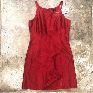 Kookai raw silk ruby red sleeveless mini dress